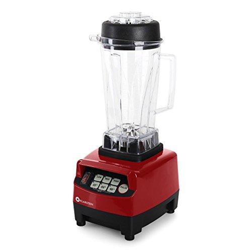 Klarstein Herakles 5G Prof. Powermixer Retro Standmixer Universal Smoothie Maker für Säfte, Eis, Cocktails und Shakes (1500W, 2 Liter , 40.000 U/Min, 6 Edelstahl-Messer, Touchpad, inkl. Mix-Behälter) rot