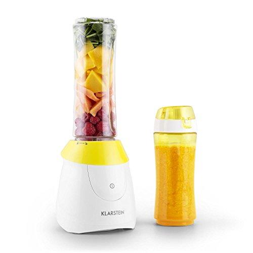 Klarstein Paradise City Standmixer Mini-Mixer Smoothie-Maker (300 Watt, inkl. 2 Trinkflaschen, BPA-frei, Edelstahlklinge) gelb