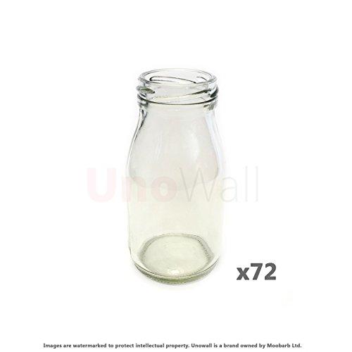 Klassischer Mini Glas 72 Stück Milchflaschen - fetzigen, retro design - ideal für Hochzeiten, BBQ, Parties. 200 ml