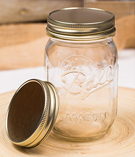 Lid Gold für Regular Mouth Ball Mason Jars/ 3er Set