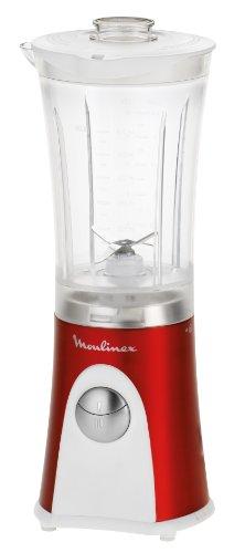Moulinex LM125G Standmixer mit Zerkleinerer-Funktion Mini Multi Deluxe (350 Watt, 2 Geschwindikeitsstufen) metallic-rot/weiß