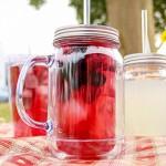 Packung mit 4 Double Wall Plastic Mason Jar Trinken Gläser 16 Unzen / 470ml von bar@drinkstuff   SAN Kunststoff-TrinkgläserJars mit Deckel & Straw