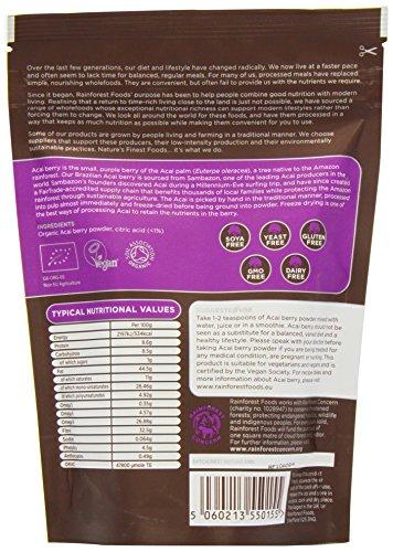 Rainforest Foods Organisches Acai-Beeren-Pulver, 1er Pack (1 x 125 g) - Bio
