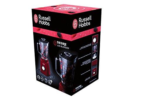 Russell Hobbs 18996-56 Desire Glas-Standmixer (0,8 PS Power-Motor, 750 Watt, bis zu 26.000 U/min), Glasbehälter (1,5 l), Edelstahlmessereinheit, Impuls-/Ice-Crush-Funktion, rot