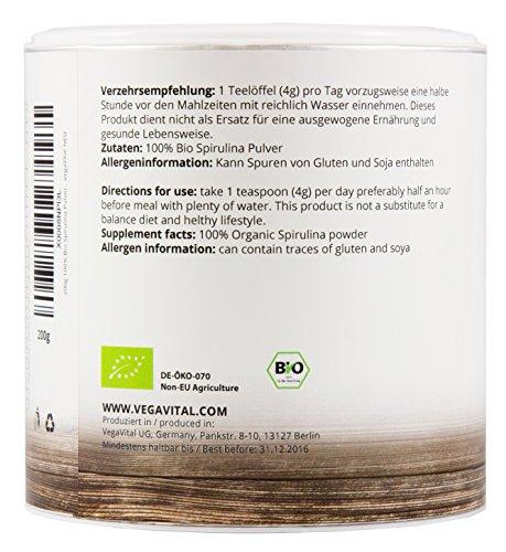 SPIRULINA ALGEN PULVER 200g von VegaVital, 100% BIO, verschiedene Vitamine und Mineralstoffe, 200g