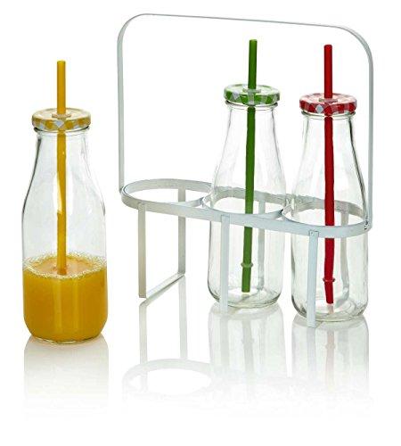 Set von drei Milch Flaschen mit Trinkhalme und Tragetasche