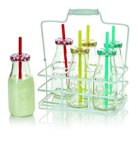 Set von sechs bunten Milch Flaschen mit Trinkhalme und Tragetasche