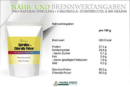 Spirulina + Chlorella 500g reines Pulver : Detox Mix Superfood Smoothie Shake Pulver - Protein + Chlorophyll Aminosäuren (, roh, vegan) Rohkostqualität!