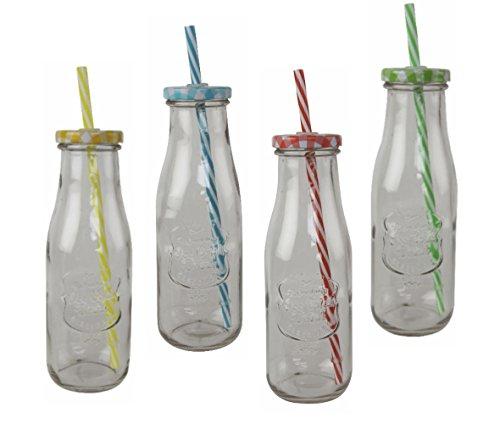 Trinkflasche 420ml mit Deckel und Trinkhalm - 4er Set - je 1x gelb, grün, rot und blau - Trinkglas, Cocktailglas, Wasserglas
