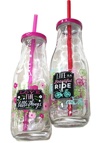Trinkflasche Glasflasche mit farbigem Deckel und Strohhalm Milchflaschen Optik 400 ml 6 Stück