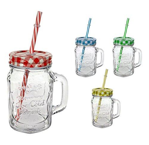 Trinkglas mit Henkel 480ml, Deckel und Trinkhalm - 4er Set - je 1x gelb, grün, rot und blau