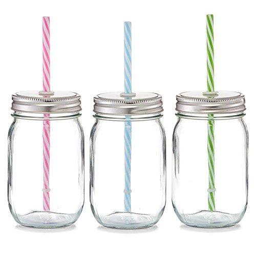 Trinkglas mit Strohhalm - 470 ml - sortiert - Flasflaschen mit Schraubverschluss - Ø 8 x 13 cm