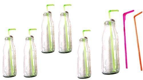 Trinkgläser Flaschen mit Deckel und Trinkhalm 6 Flaschen Gläser Set a 500 ml