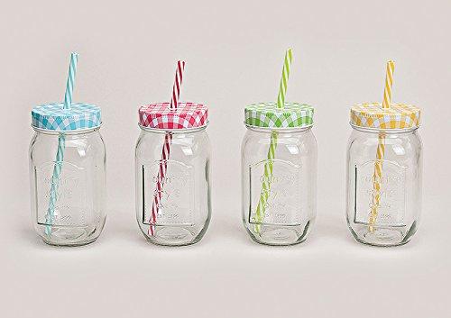 Trinkgläser mit Deckel und Trinkhalm 4 Gläser Set a 0,5l