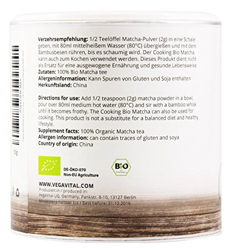 VegaVital Bio Matcha Tee for Cooking, 1er Pack (1 x 100 g)