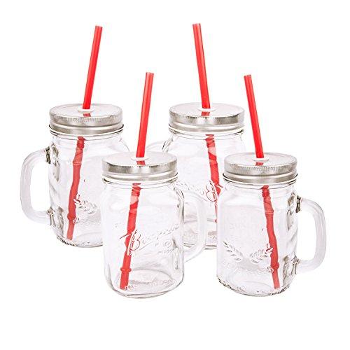 Vintage Trinkgläser mit Henkel Strohhalm in zwei Varianten, 400ml - 2er Set / 4er Set (4er Set)