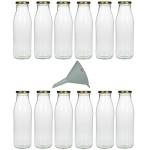 Viva Haushaltswaren - 12 leere Weithals-Glasflaschen 0,5L. / Saftflaschen inkl. einem Einfülltrichter Ø 12 cm