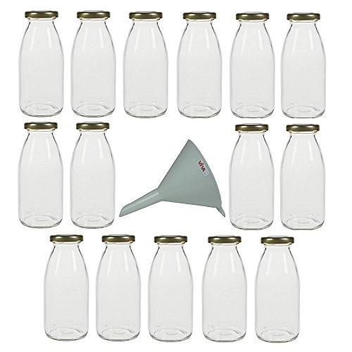 Viva Haushaltswaren - 15 kleine Glasflaschen 250ml mit Schraubverschluss - inkl. einem Einfülltrichter Ø 12 cm