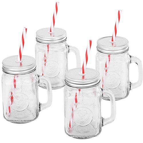 VonShef Set mit 4 Weckglas Trinkgläsern 450 ml Gläser mit Wiederverwendbaren Strohhalmen, Schraubdeckeln & Henkeln