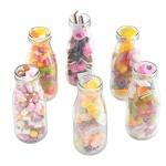 VonShef Set mit 6 Retro 300 ml Milchflaschen Trinkgläser-Set mit wiederverwendbaren Strohhalmen & Deckeln