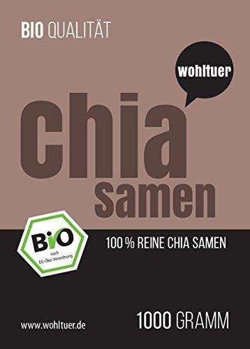 Wohltuer Bio Chia Samen in Premium Qualität, 1kg (DE-ÖKO-006) In Rohkostqualität!