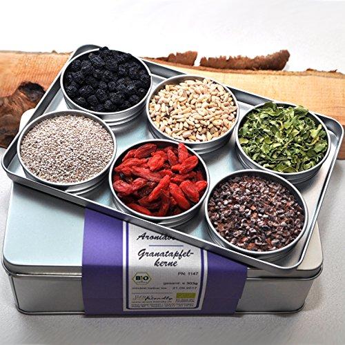direct&friendly Bio Superfood Geschenkset mit Aronia, Chia, Goji, Granatapfel, Kakao Nibs und Moringa