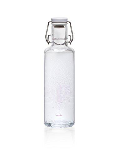"""soulbottle 0,6 l """"Just breathe"""" • Trinkflasche aus Glas, 100% plastikfrei, Lotusblume"""