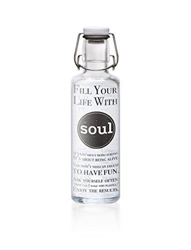 "soulbottle 0,6l ""Fill your life with Soul"" • Trinkflasche aus Glas, 100% plastikfrei"