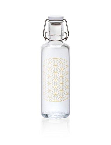 """soulbottle 0,6l """"Flower of Life"""" • Trinkflasche aus Glas, 100% plastikfrei"""