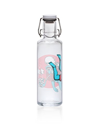 "soulbottle ""Diving Sailor"" 0,6l • Trinkflasche aus Glas, 100% plastikfrei, dänisches Design"