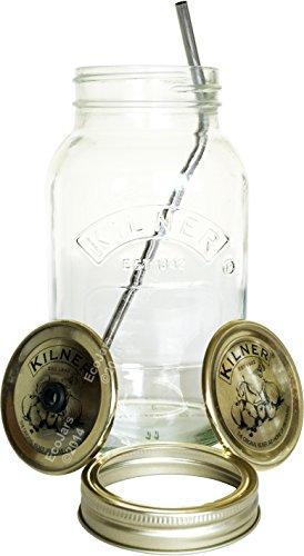 1 Litre Eco Mason Jars Kilner, zusätzliche Deckel, Stainless Steel Straw Whole Green Juice Smoothie Fruit Water Detox Raw Diets fusion