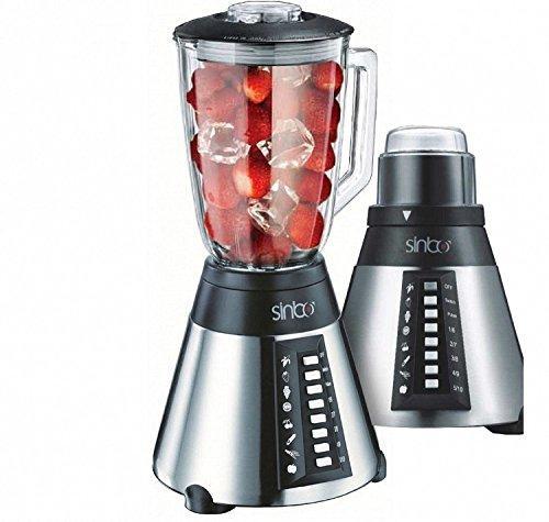 10 Stufen Glas Edelstahl Standmixer 700 Watt Smoothie Maker Mixer 2in1 inklusiv Kaffeemühle