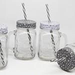 12er Set Trinkglas Stern grau weiß mit Deckel Strohhalm + Cocktail Karten