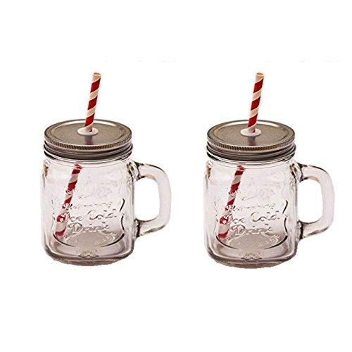 2x Vintage Trinkgläser im Set. 0,5 Liter mit Deckel, Strohhalm und Henkel. Der Sommertrend