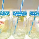 3x Blau Jam Jar Brillen 430ml-Mason Glas/Tennessee Jar Glas/Trinken Gläser mit Stroh/Jam Jar Cocktails