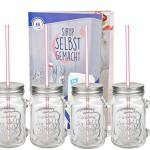 4er Set Glasbecher mit Henkel, Deckel und Trinkhalm inkl. Rezeptheft - Silber - 0,45 Liter Trinkbecher / Trinkglas mit Relief - für Säfte, Smoothies und andere Erfrischungsgetränke
