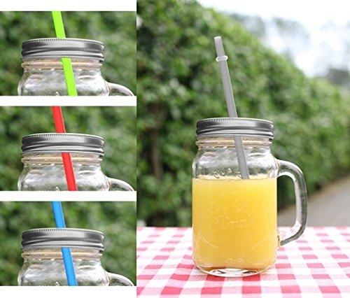 4er Set Gläser mit Trinkhalm und Deckel ca. 115 ml