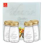 4er Set Quattro Stagioni Flasche 0,20l incl. Bormioli Rezeptheft - als Saft Smoothie Getränke Fläschchen, zur Dekoration oder als Einmachglas, Vorratsglas
