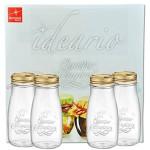 4er Set Quattro Stagioni Flasche 0,40l incl. Bormioli Rezeptheft - als Saft Smoothie Getränke Fläschchen, zur Dekoration oder als Einmachglas, Vorratsglas