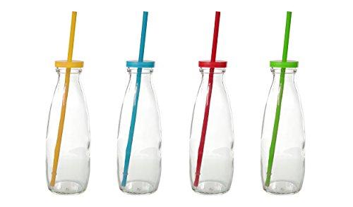 4er Set Trinkglas Becher mit Deckel bunt Strohhalm 400 ml Glas Henkel