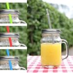 4er Set Trinkglas Becher mit Deckel silber Strohhalm 350ml Glas Henkel