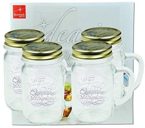 4er Set Trinkglas mit Henkel und Deckel Original Quattro Stagioni Glas 0,415L