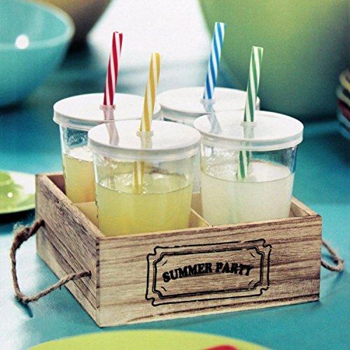 4er Set Trinkgläser mit Deckel und Trinkhalm in einer Tragekiste je Trinkglas 275ml