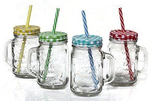 4er Set Vintage Henkel Trinkglas mit Deckel und Trinkhalm - Der Sommertrend