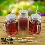 6 Stück Trinkgläser Mason Glas mit Deckel, &^Ideal für Smoothies, Cocktails