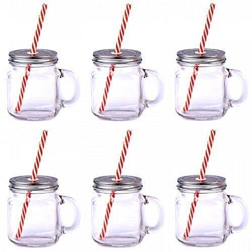 6er Set Klar Groß Glas Maurer Marmeladengläser Trinken Sommer Bbq Cocktail Glas Griff Mit Stroh Und Deckel Küchen Geschnek