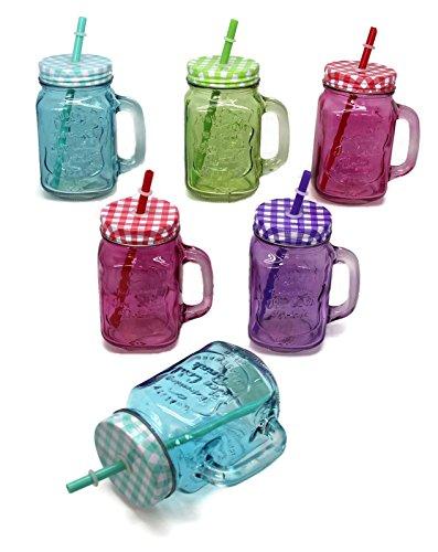 6er Set Trinkglas bunt mit Deckel und Strohhalm + Cocktail Karten