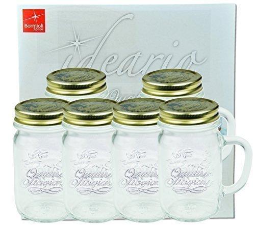 6er Set Trinkglas mit Henkel und Deckel Original Quattro Stagioni Glas 0,415L