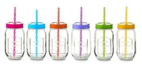 6x Zeller Trinkglas 480 ml Color Lid mit Deckel und Strohhalm, Vintage Glas