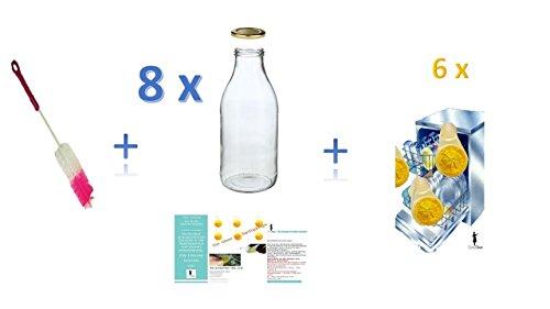 8 leere Weithals-Glasflaschen 1,0 l / Saftflaschen